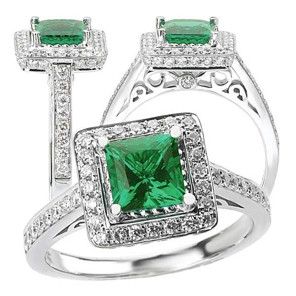 Custom Made 18k Created 6mm Princess Cut Emerald Engagement Ring With  Natural Diamond Halo