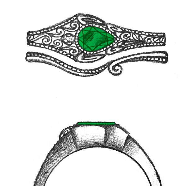 Artistic design sketch for an east-west set turtle engagement ring with a pear cut emerald center stone.