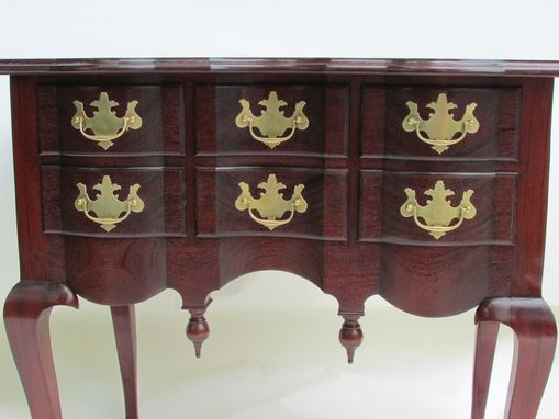 Custom Made Mahogany Curved Blockfront Lowboy Dressing Table