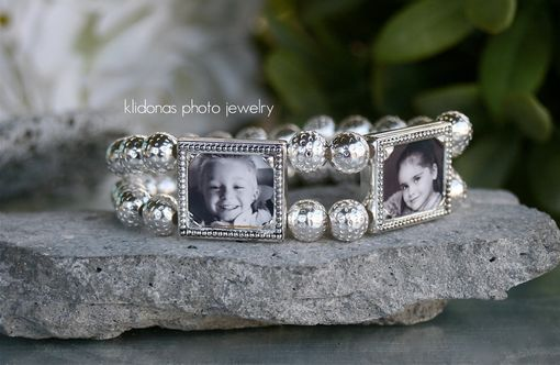 Custom Made Two-Frame Silver Photo Bracelet With Silver Textured Brass Beads