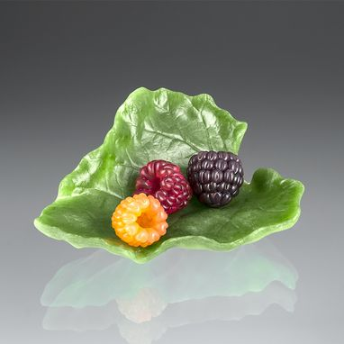 Custom Made Palm-Sized Glass Rhubarb Leaf With Realistic Glass Berries