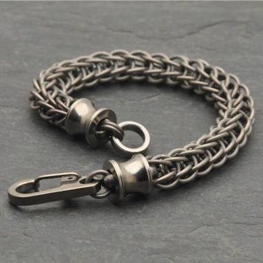 Custom Made Persian Chainmail Titanium Bracelet With Lathe Turned Ends.