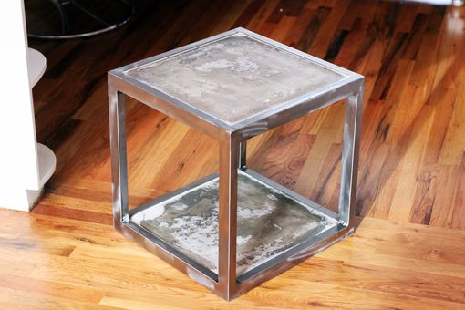 Custom Made Concrete And Steel Side Table