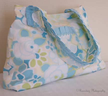 Custom Made Upcycled Blue, Green, Tan Floral Purse Handbag