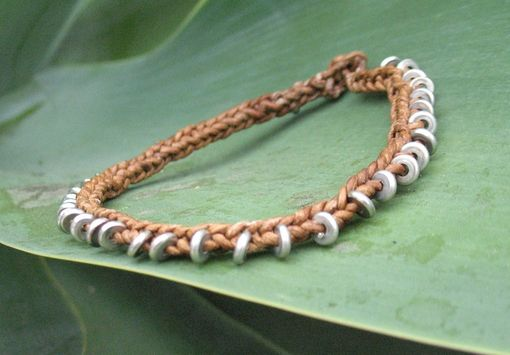 Custom Made Bracelet / Anklet / Men's Bracelet:  Braided Brown Leather Cord With Silver  Beads