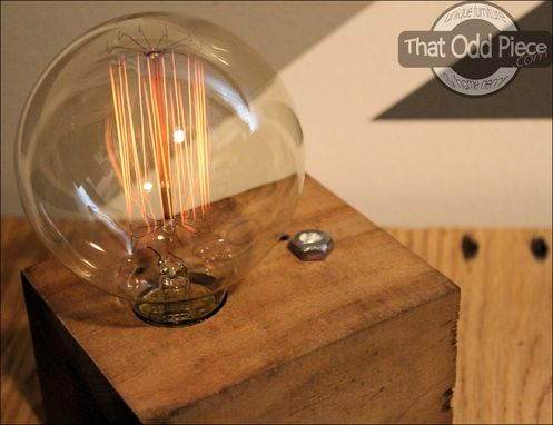 Custom Made Reclaimed Barnwood Block Lamp With Touch Dimmer Switch & Edison Globe Bulb