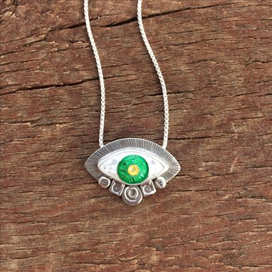 Custom Made Small Enamel Evil Eye Charm Necklace, Green Evil Eye Necklace, Cloisonne Enamel Eye Necklace