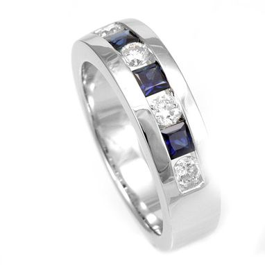 Custom Made Blue Sapphire And Diamond Band In 14k White Gold, Wedding Band, September Birthstone