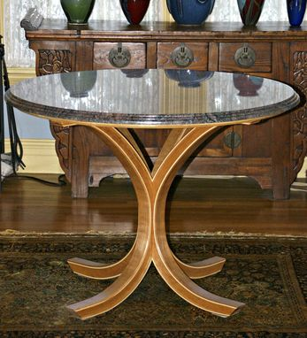 Custom Made Curly Cherry Bent Leg And Granite Circular Table