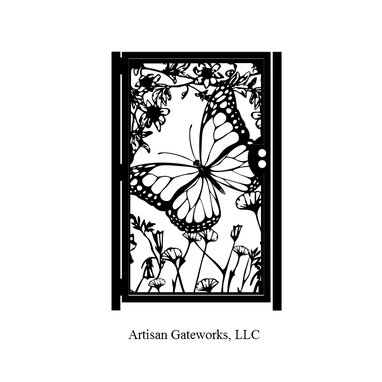 Custom Made Floral Artistic Gate - Butterfly Decorative Steel Gate - Custom Wall Panel - Outdoor Steel Art