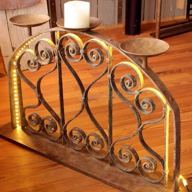 Custom Made Wrought Iron Candle Holder With Led Light