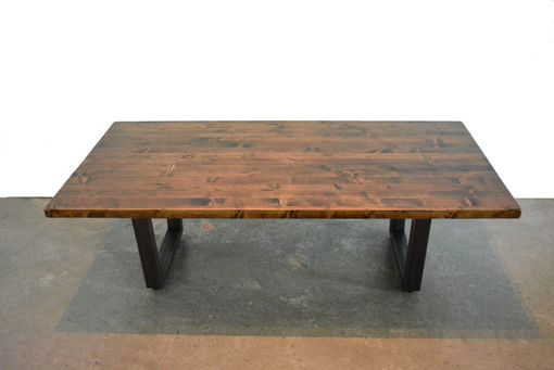 Custom Made Industrial Wood Coffee Table With Raw Steel Base