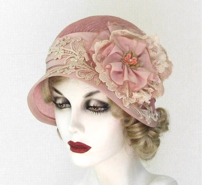 Hand Made Vintage Style Shabby Chic Cloche Summer Hat by Gail s ... 95b0d2ddbd0