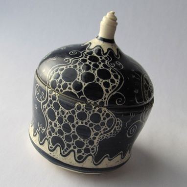 Custom Made Handmade Stoneware Covered Jar With Bubbles And Swirls