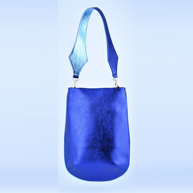 Custom Made Metal Blue Sheepskin Shoulder Bag (M)