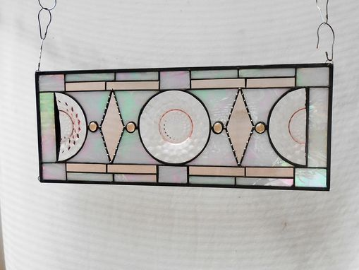 Custom Made Stained Glass Plate Panel, Vintage Jeannette Cubist Stained Glass Window Transom
