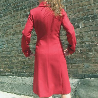 Custom Made Women's Buckle Wrap Coat In Red Wool And Cashmere