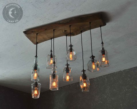 Custom Made The Big Sur Bottle Live Edge Wood And Glass Chandelier