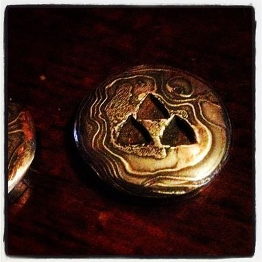 Custom Made Grooms Cufflinks With Damascus Steel And Tri-Force