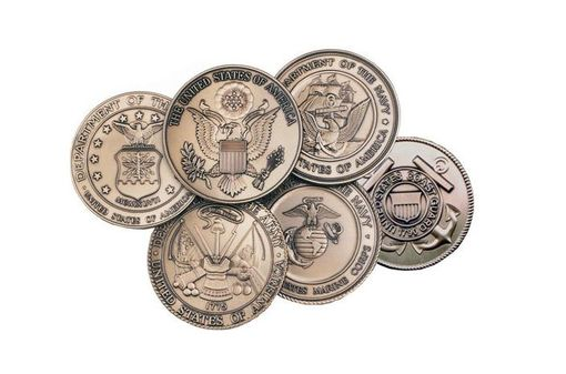 Custom Made Military Service Medallions In Solid Brass