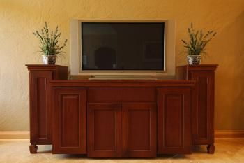 Custom Made Entertainment Center In Lyptus