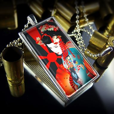 Custom Made Japanese Geisha Girl Sterling Silver Necklace 272-Srcn