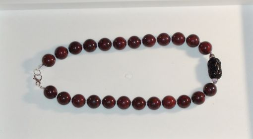 Custom Made Brecciated Jasper Man's Necklace - Large Round Brown Beads
