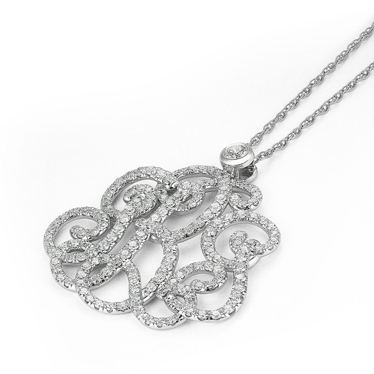 Hand crafted j b g initials monogram diamond pendant sewn custom made j b g initials monogram diamond pendant sewn together aloadofball Image collections
