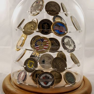 Custom Made Challenge Coin Holder, Large Glass Dome Coin Display 76 Coins