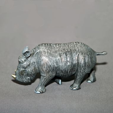 "Custom Made Bronze Rhinoceros ""Baby Rhinoceros"" Rhino Figurine Statue Sculpture Limited Edition Signed Numbered"