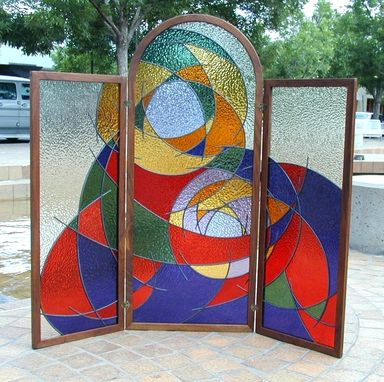 Custom Made Abstract Madonna And Child - Stained Glass Screen