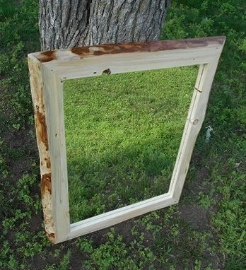 Custom Made Rustic Framed Mirrors With Live Edge Made Of Red Pine
