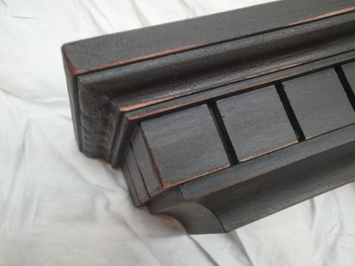 Custom Made Black Distressed Floating Wall Shelf Or Photo Ledge