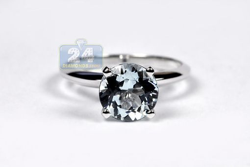 Custom Made 14k White Gold 2.01 Ct Aquamarine Womens Ring