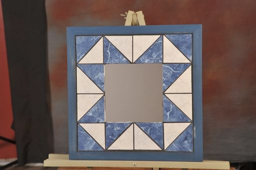 Custom Made Mirror - Set In Blue And White