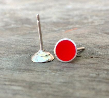 Custom Made Red Stud Earring Post - Resin Stud - Tiny Studs - Small Recycled 6mm Post Earring
