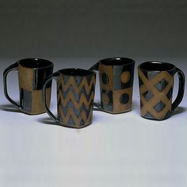 Custom Made Set Of 4 Square Mugs