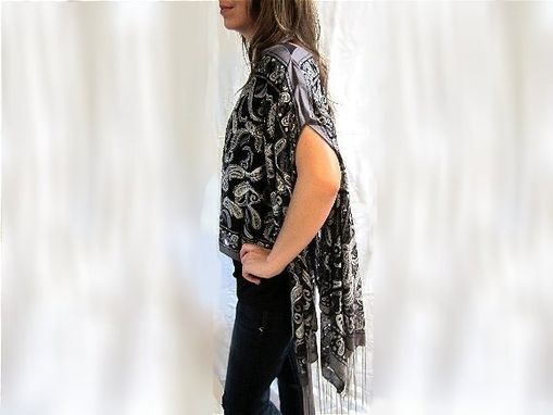 Custom Made Evening Wrap Hand Beaded Charcoal Grey Paisley