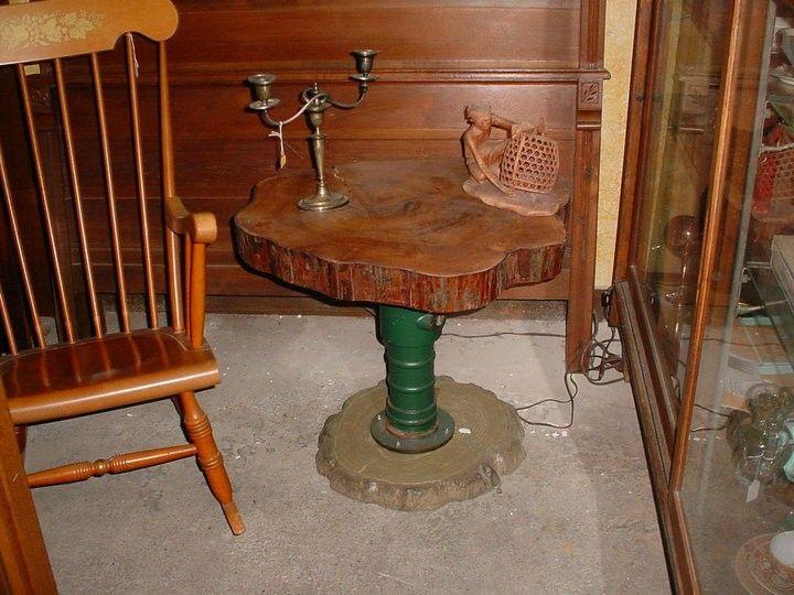 Handmade Tree Trunk Slab Table W Metal Pedestal Vintage By
