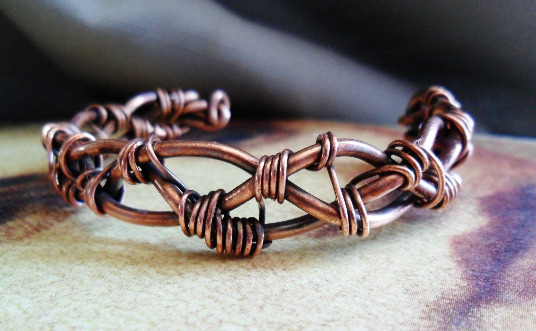 Custom Made Braided Copper Wirework Cuff Bracelet