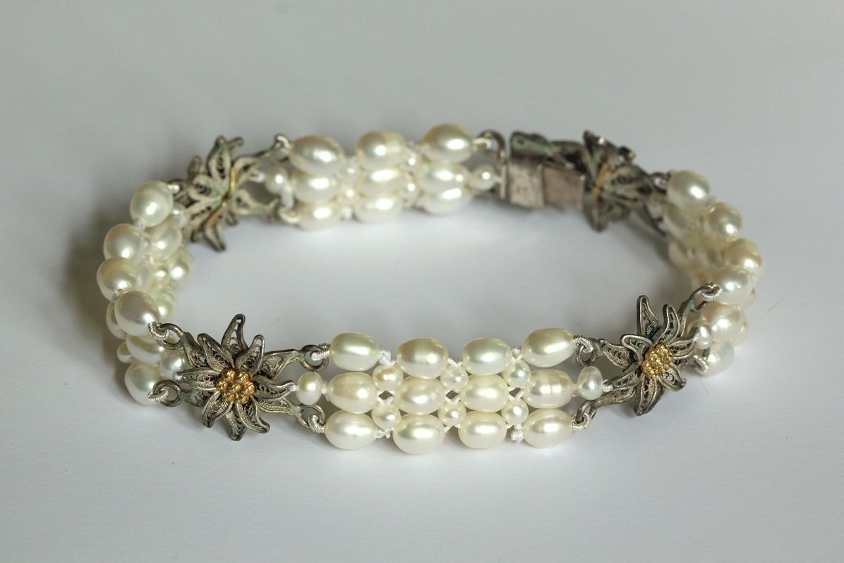 Custom Made Hand Woven Sterling Silver Golden Flower Pearl Bracelet Perfect For Bridal Jewelry