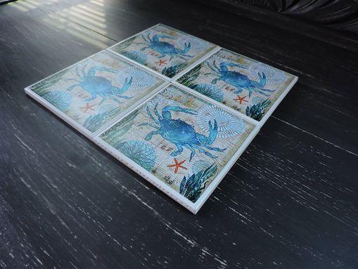 Custom Made Handmade Crab Theme Ceramic Coasters