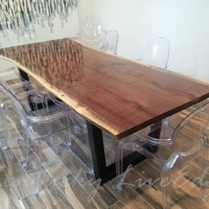 Live Edge Dining Table Modern Industrial Conference By