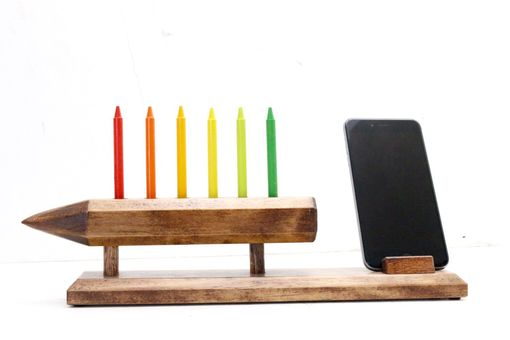 Custom Made Woodwarmth Pencil Holder And Desk Organizer + Phone Stand