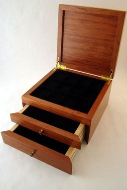 Custom Made Custom Jewelry Box With Art Deco Wood Inlay