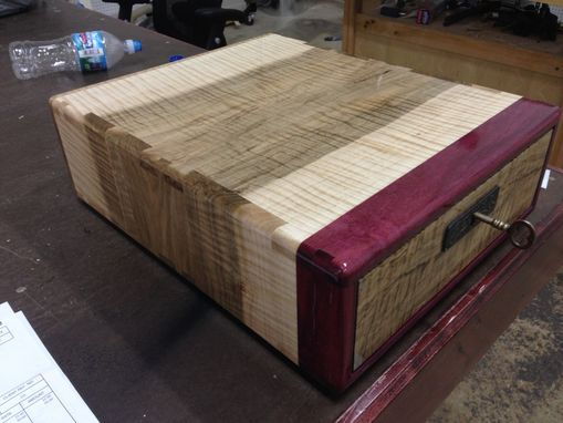 Custom Made Portfolio Box In Figured Soft Maple And Purpleheart