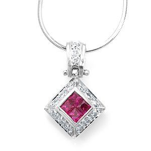 Custom Made Ruby And Diamond Pendant In 14k White Gold, Diamond Pendant, July Birthstone Pendant