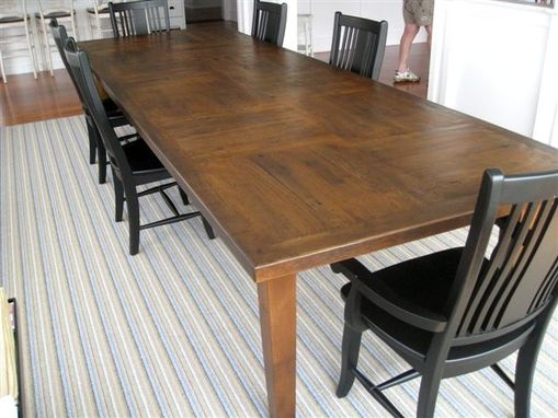 Custom Made Custom Made Rustic Oak Dining Table With Square Decorative Inlays