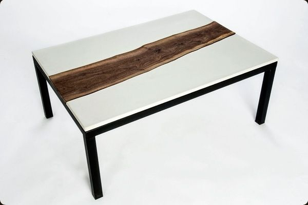 Fabulous Concrete Walnut And Steel Coffee Table Spiritservingveterans Wood Chair Design Ideas Spiritservingveteransorg