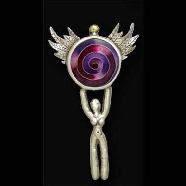 Custom Made Goddess- Spiral Pendant Pin Necklace